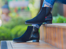 Load image into Gallery viewer, Prince St Bootie - Black Nobuck & Black Brushed Anaconda