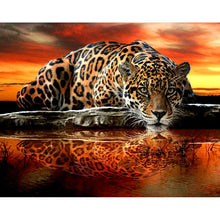Laden Sie das Bild in den Galerie-Viewer, Leopard Sonnenuntergang- DIY Diamond Painting | Eckige/Runde Steine