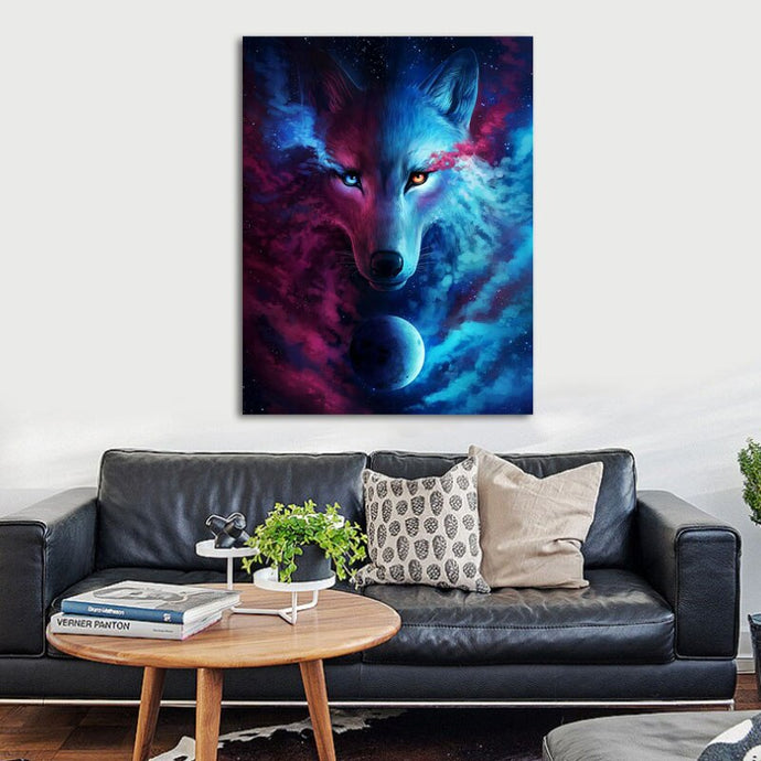 Mond Wolf Orange/Blue Eye - DIY Diamond Painting | Eckige/Runde Steine