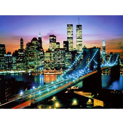New York Brooklyn Bridge bei Nacht - DIY Diamond Painting | Eckige Steine
