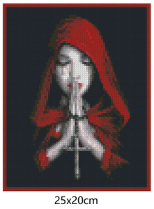 Gothic Prayer Woman - DIY Diamond Painting | Eckige/Runde Steine