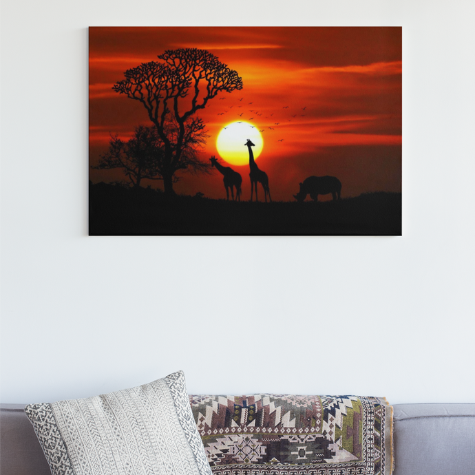 Giraffen Sunset - DIY Diamond Painting | Eckige/Runde Steine