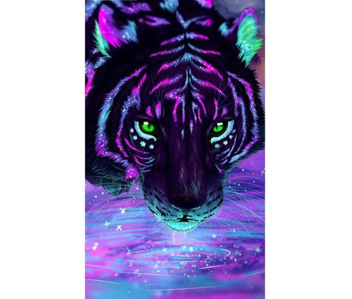 Neon Tiger - DIY Diamond Painting | Eckige Steine