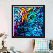Laden Sie das Bild in den Galerie-Viewer, Neon Pfauenfeder  30x30cm - DIY Diamond Painting | Runde Steine
