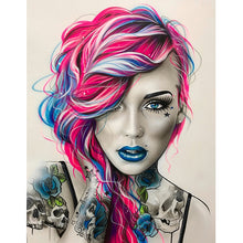 Lade das Bild in den Galerie-Viewer, Neon Tattoo Girl - DIY Diamond Painting | Eckige/Runde Steine