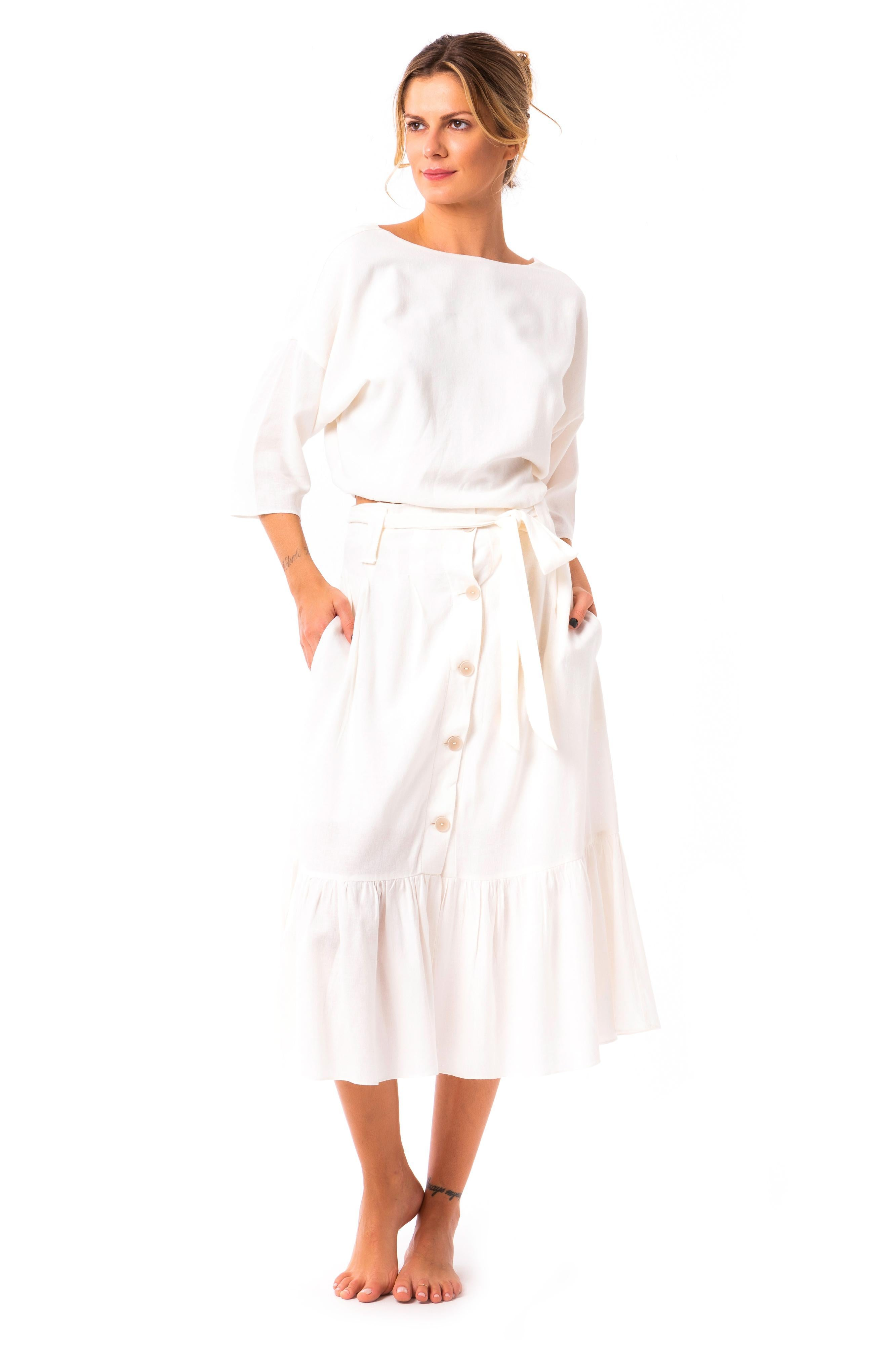 Saia Midi Linen Off White