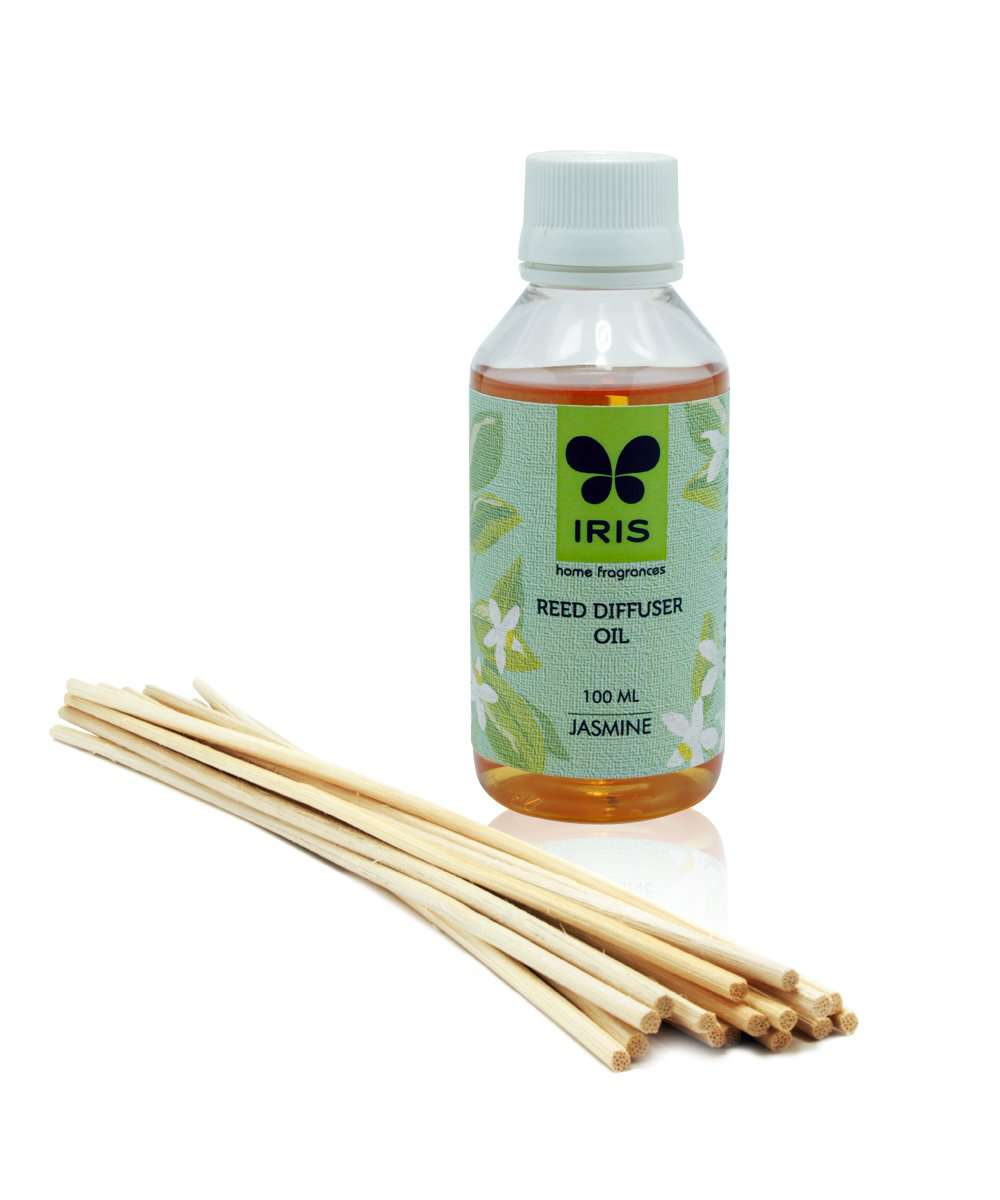 "Iris Reed Diffuser Refill pack containing 100 ml Diffuser Oil and 16 Reed Sticks of 10"" length"