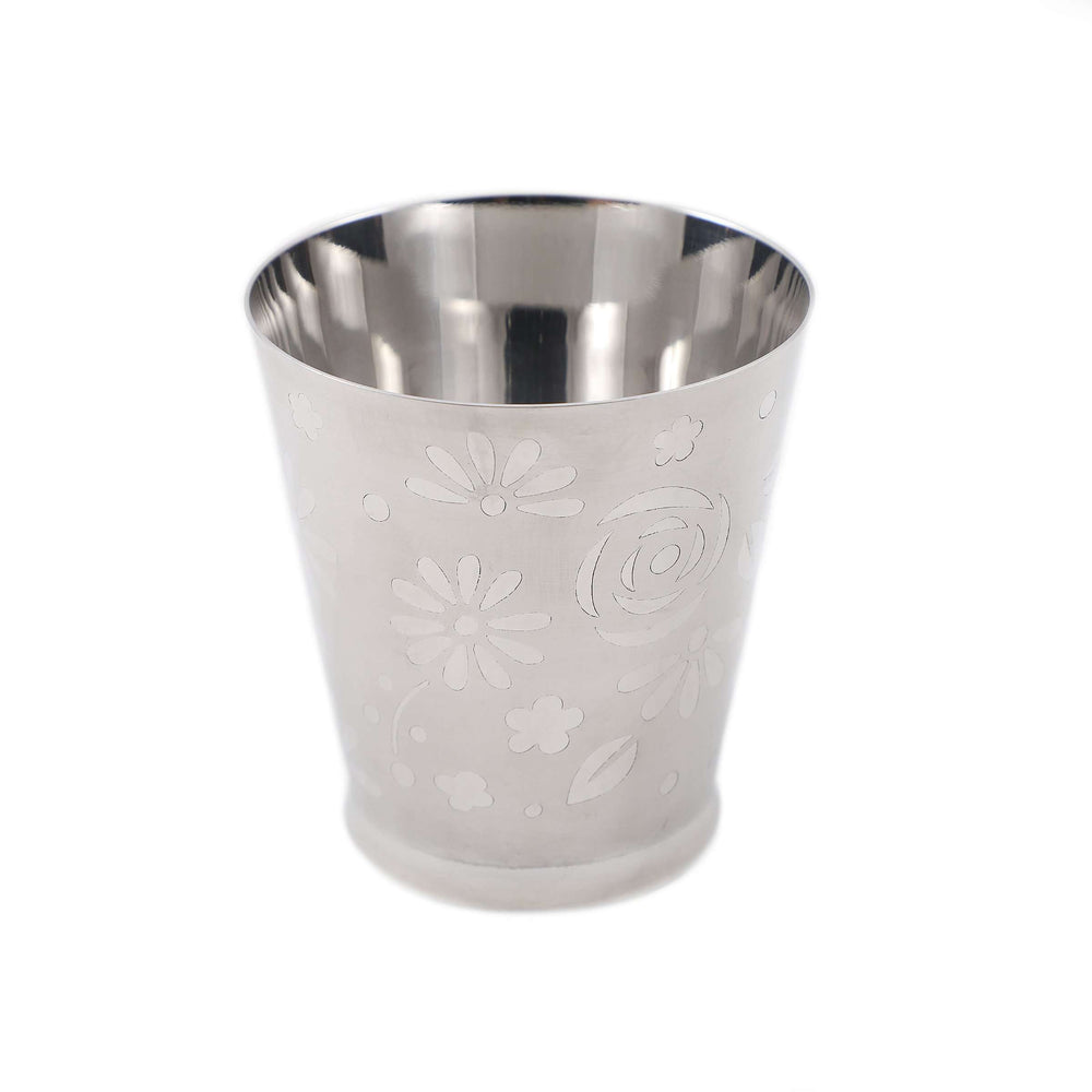 Stainless Steel Floral Drinking Glass