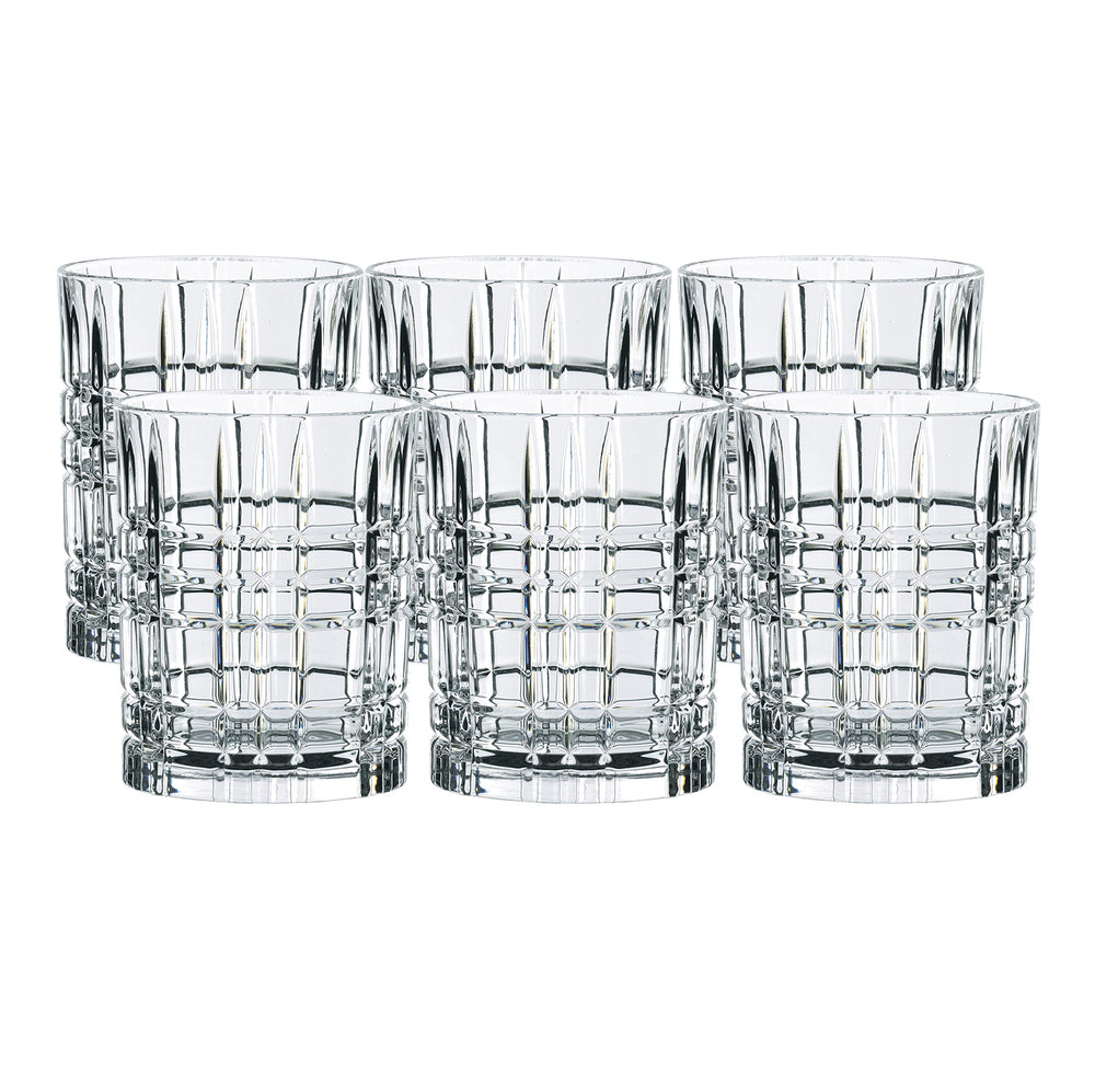 Nachtmann Highland Crystal Square Whisky Tumbler Set | 345ml/8.2cm - Clear (Set of 6)