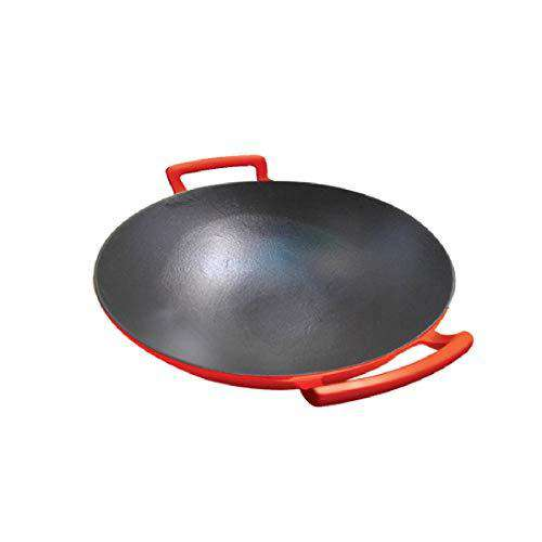 Alda Enamelled Cast Iron Wok Pan With Glass Lid 24 Cm, Orange
