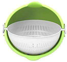 Homecare Multipurpose Double Drain Round Basket for Fruits, Vegetables, Noodles, Pasta, Rice, Pulses, Washing Bowl/Rinse Bowl or Strainer to Storing and Straining Kitchen Tool