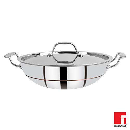Bergner Argent 5CX 5-Ply Stainless Steel Kadhai with Stainless Steel Lid, 28 cm, 3.9 Liters, Silver