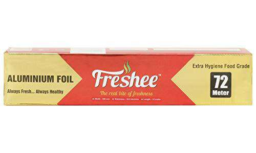 Freshee 72m Aluminium Silver Kitchen Foil Roll Paper, 10.5 Micron Thick, Food wrap, Bacteria Resistant, Disposable, Food Parcel, Hookah, Fresh Food