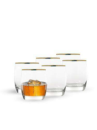 Ocean Ivory Rock Gold Band Glass, Set of 6, 320ml, Transparent