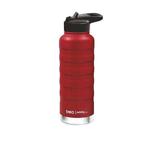 Treo by Milton Pebble Thermosteel Hot and Cold Water Bottle with Spout Lid, 710 ml, Red