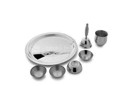 Arttdinox Stainless Steel Etching Pooja Thali Small (21X21X12In_Multicoloure)