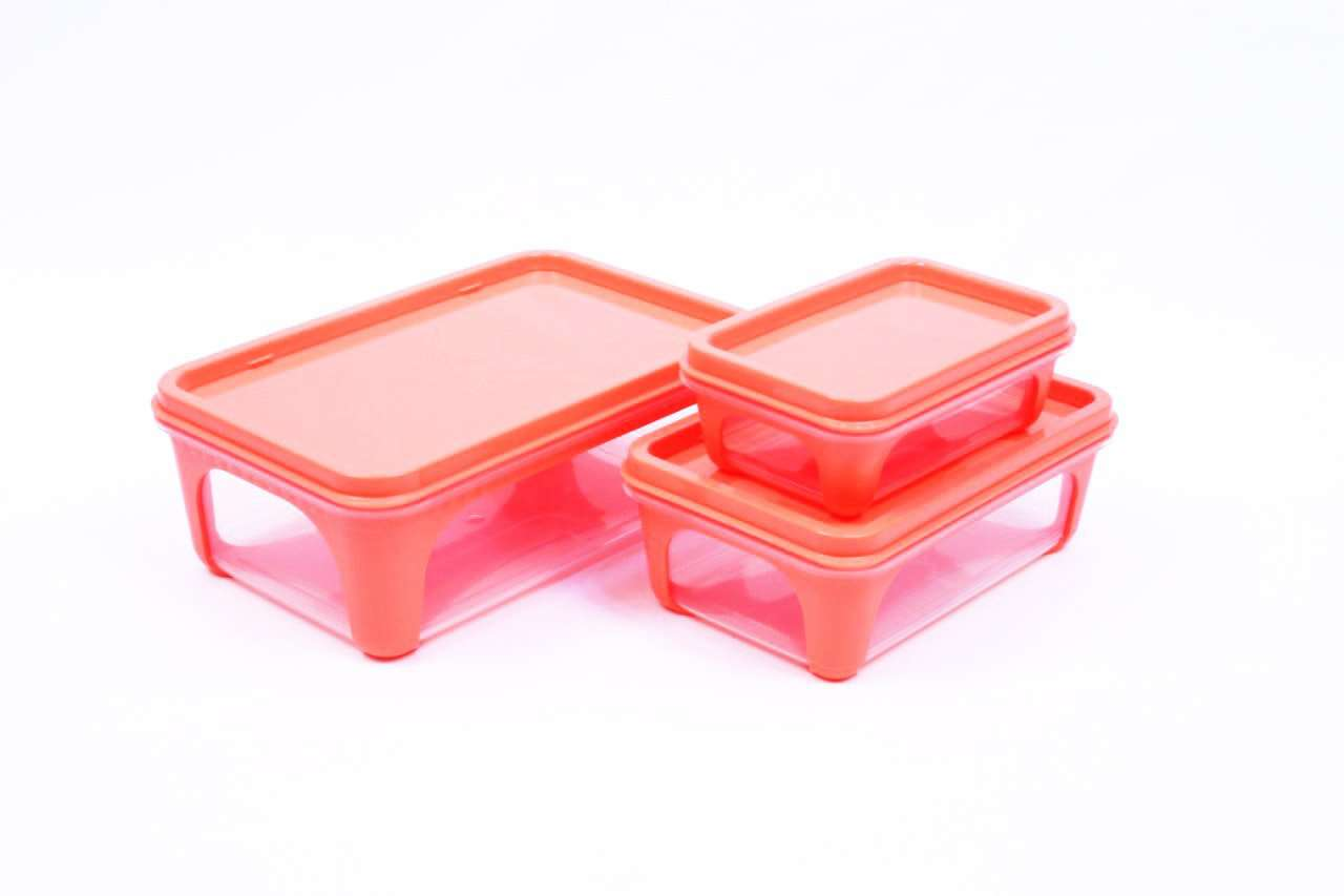 Unica Solo Uno 100% Food Safe Microwave Safe Dishwasher Safe 2K Rectangle Food Storage Container - 3 pcs set - 200ml-425ml-840ml