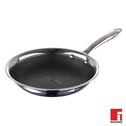Bergner Hitech Prism Triply Stainless Steel Non Stick Frypan, Induction Base, Silver