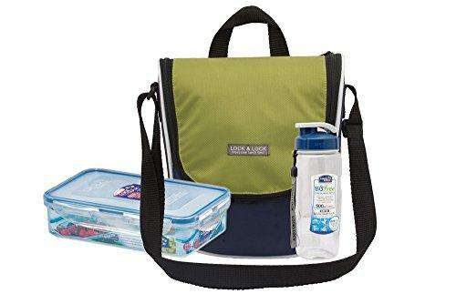LocknLock Plastic Sling Lunch Box with Bag Set, 2-Pieces, Blue/Green