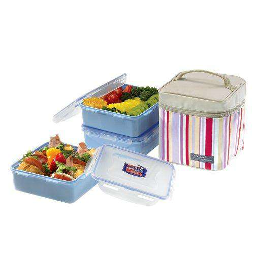 Lock&Lock Lunch Box Set with Insulated Stripe Bag, 3-Pieces