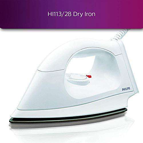 Philips HI113 1000-Watt Plastic Body PTFE Coating Dry Iron(White)