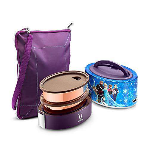 Vaya Tyffyn Disney Frozen Copper-Finished Stainless Steel Lunch Box for Kids with Bagmat, 600 ml, 2 Containers, Blue