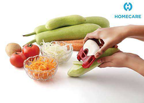 Stylish Designed Fruit & Vegetable Instagram Look Peeler/Shredder with BPA-Free Storage Container-Lid, Multi Purpose Stainless Steel Blades for Hassle-Free and Effortless Slicing