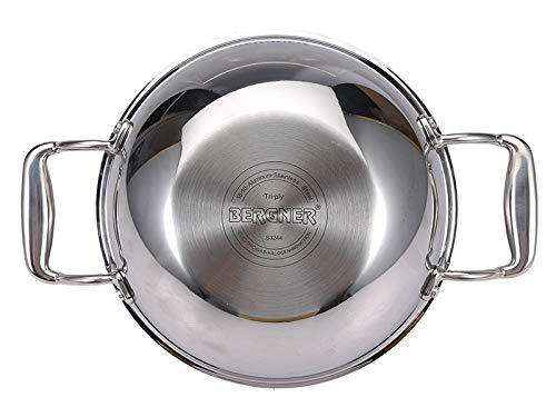 Bergner Hitech Prism Triply Stainless Steel Non-Stick Kadhai with Glass Lid, Induction Base, Silver