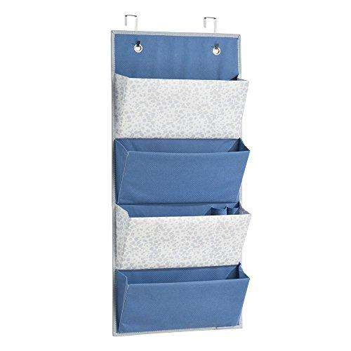 InterDesign Hanging Closet Shelf Organizer for Purses, Handbags & Sunglasses, Hooks Included, 4 Pockets - Color: Blue
