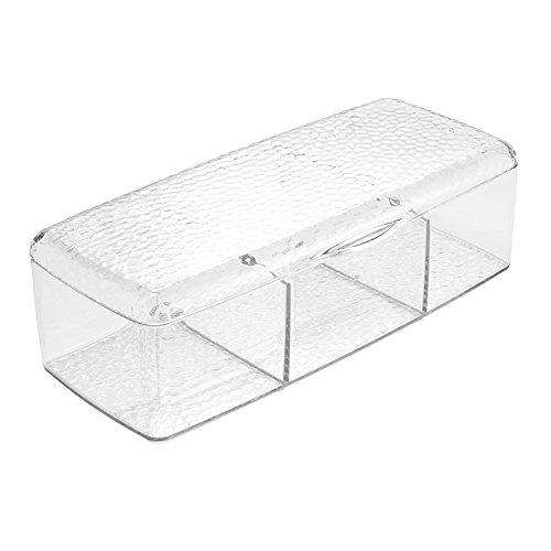 InterDesign Rain Organizer for Countertops, Vanity and Bathroom | 3 Storage Compartments with lid, 9x4.7x2.7
