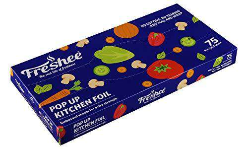 Freshee 75 Pre Cut Aluminium Foil Sheet 30 cm x 27 cm,Pop up Kitchen Foil,Just Pull and Wrap Thicker Aluminium Sheet for Roasting, Grill Lining