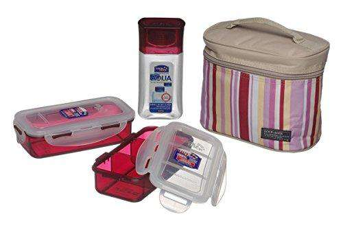 Lock&Lock Rectangular Lunch Box Set with Leak Proof and Locking Lids, 3-Pieces, Pink