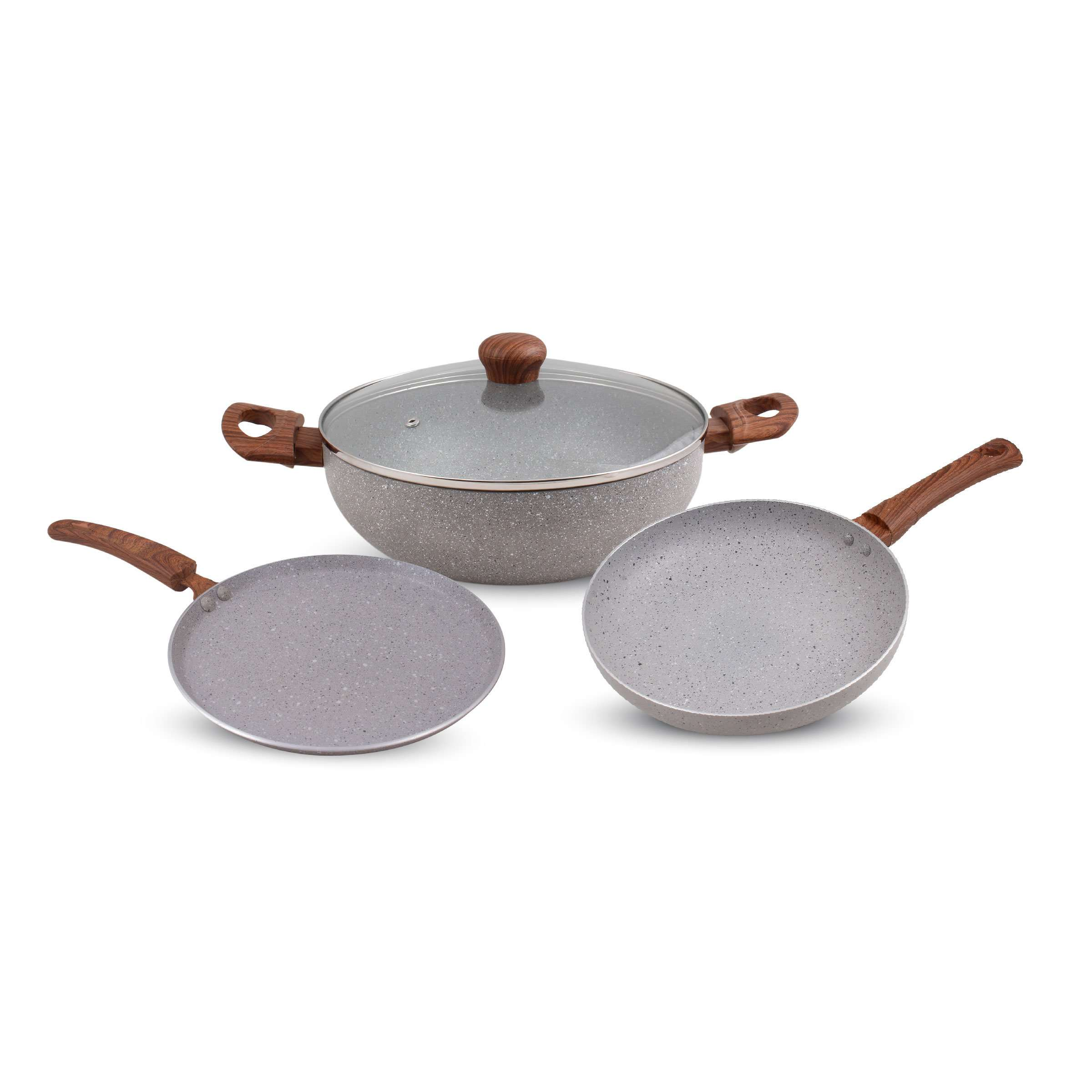 Krav 3 Pieces Non Stick Cookware Set, Granite Color - (Kadhai + Tawa + Pan)