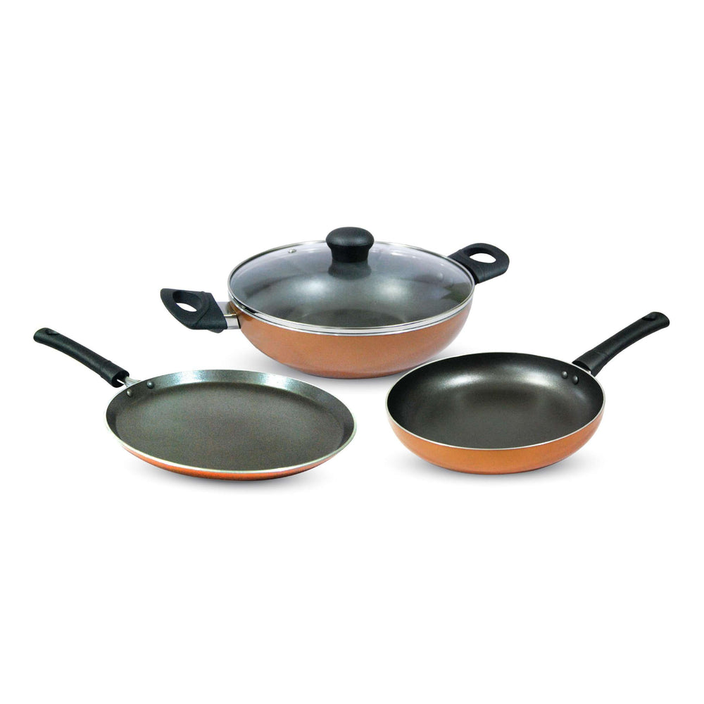 Krav 3 Pieces Non Stick Cookware Set in Stylish Copper Color (Kadhai + Tawa + Pan)