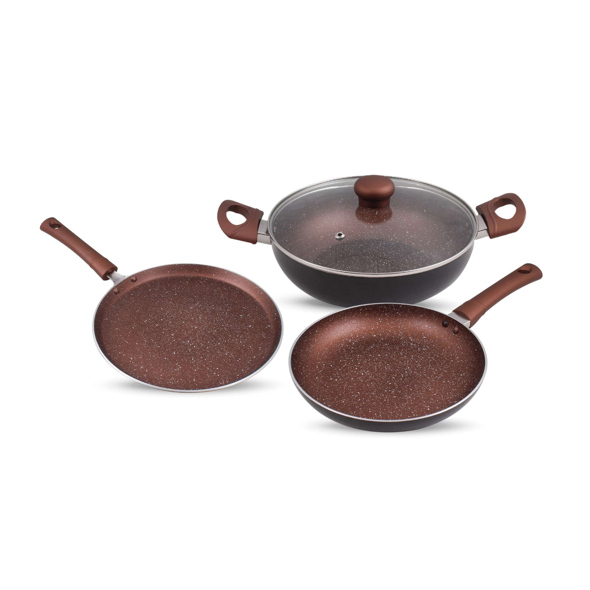 Krav 3 Pieces Non Stick Cookware Set, Wine Red Color (Kadhai with Lid + Tawa + Pan)