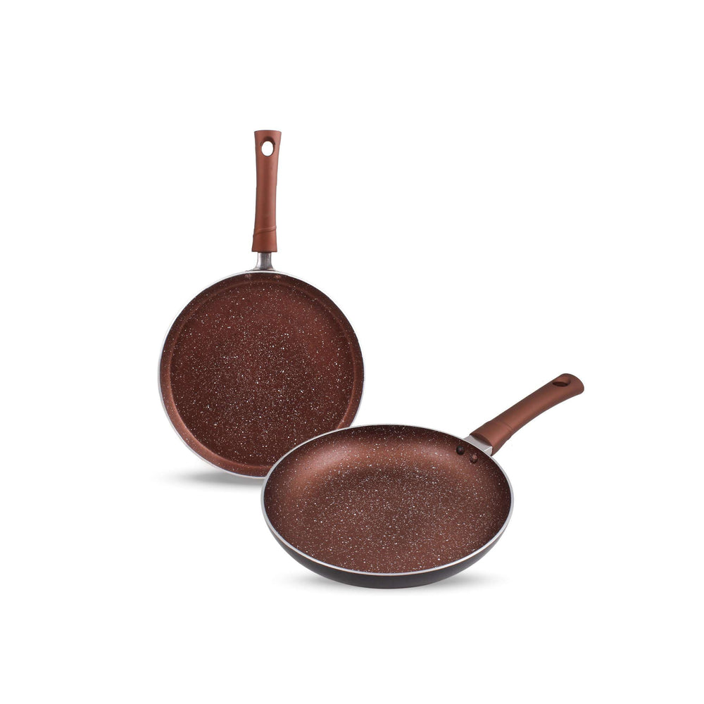 Krav 2 Pieces Non Stick Cookware Set in Stylish Wine Red (Tawa + Pan )