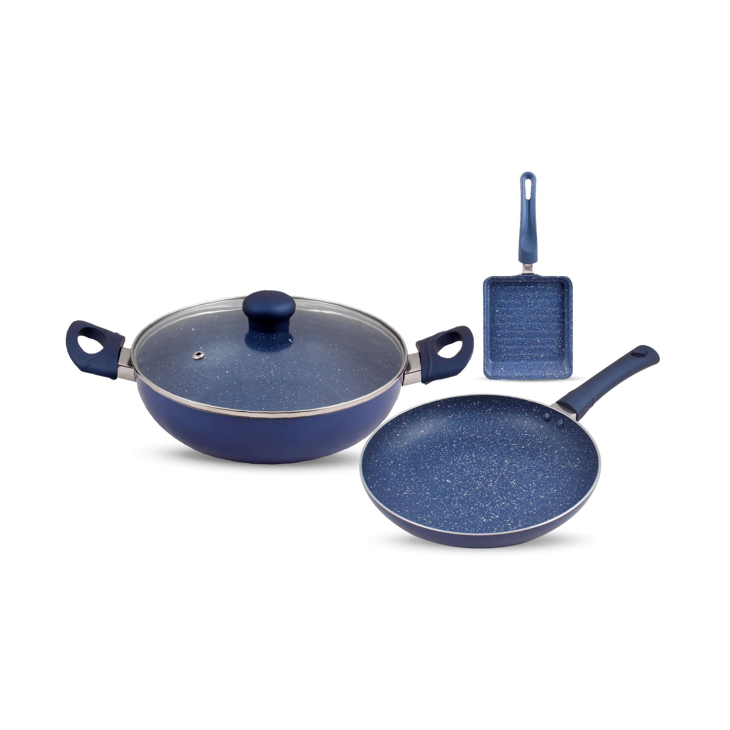 Krav 3 Pieces Non Stick Cookware Set, Midnight Blue Color - (Kadhai with Lid + Tawa + Grill Pan)