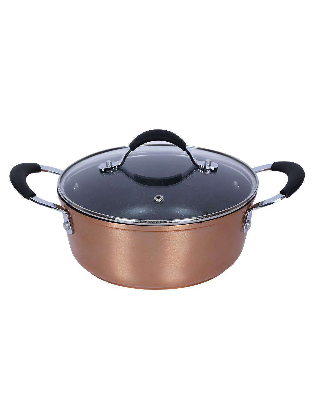 Bergner Infinity Chefs Aluminium Casserole with Lid, 2.29 Litres/20cm, Copper