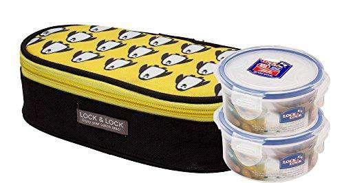 Lock & Lock Penguin Brunch Flat Plastic Lunch Box with Bag Set, 2-Pieces, Multicolour