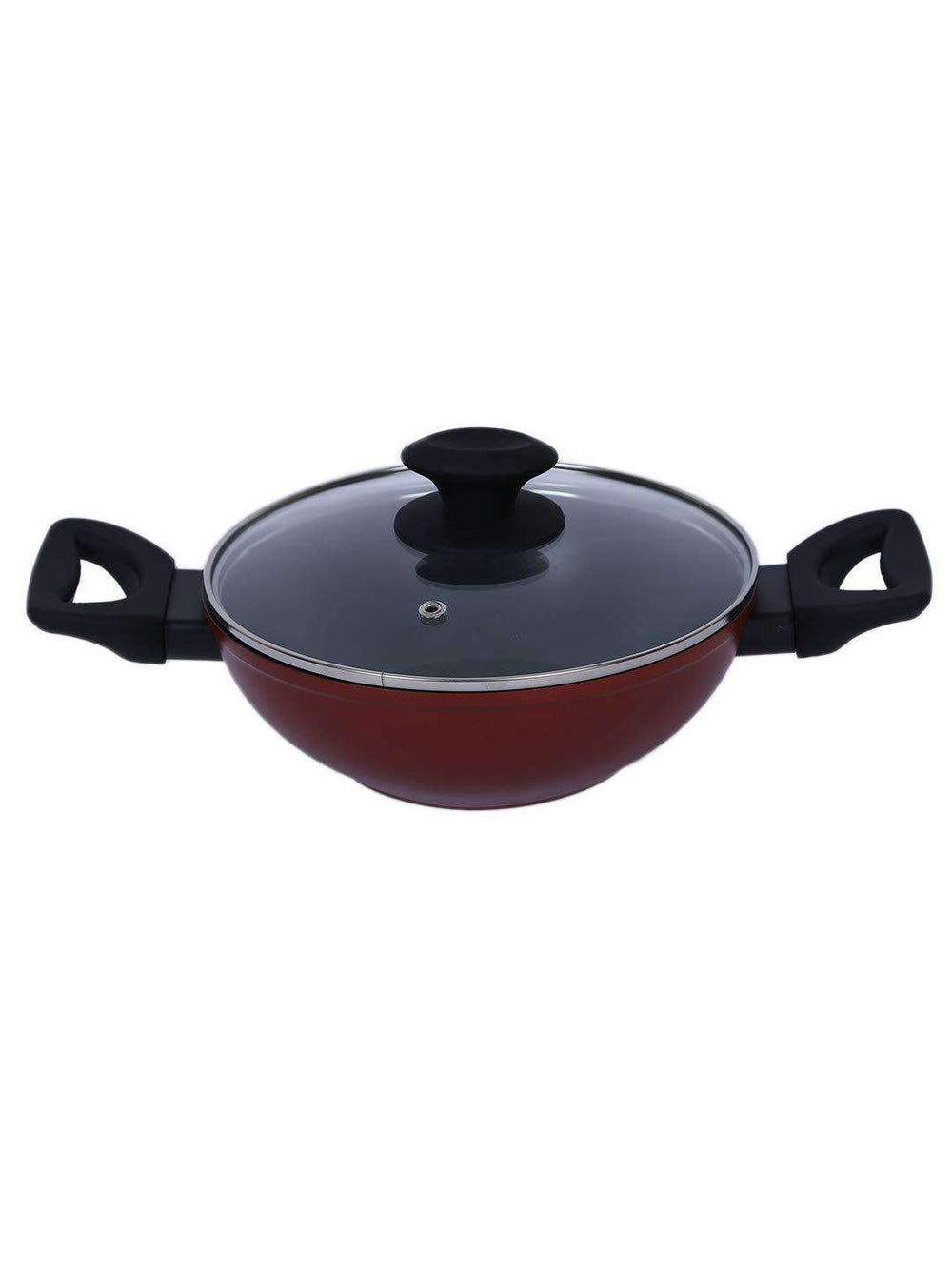 Bergner Scarlett Aluminium Wok with Glass Lid, 20 cm Induction Base