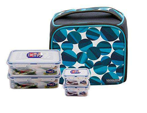 LocknLock Deluxe Plastic Lunch Box with Bag Set, 4-Pieces, Multicolour
