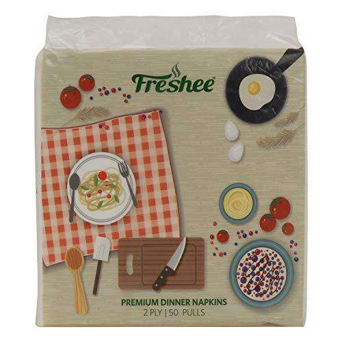 Freshee 50 Pulls 2 Ply Dinner Napkin Tissue Paper, Hygience And Fresh Tissue Made With 100% Virgin Fibre, Skin Friendly Disposable Tissue
