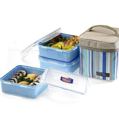 Lock&Lock Plastic Lunch Box Set with Insulated Stripe Bag, 3 Pieces, Blue, Standard