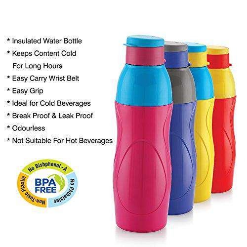 Cello Puro Curve Plastic Water Bottle Set, 600ml, Set of 4, Assorted
