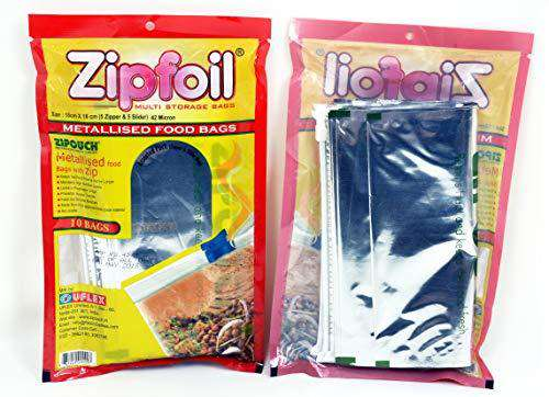 Zipfoil Pouch (Pack of 10) (5 Zipper + 5 Slider) (Size Small 18 cms x 18 cms) Metallised Food Bags, Made from FDA Approved Food Grade Material