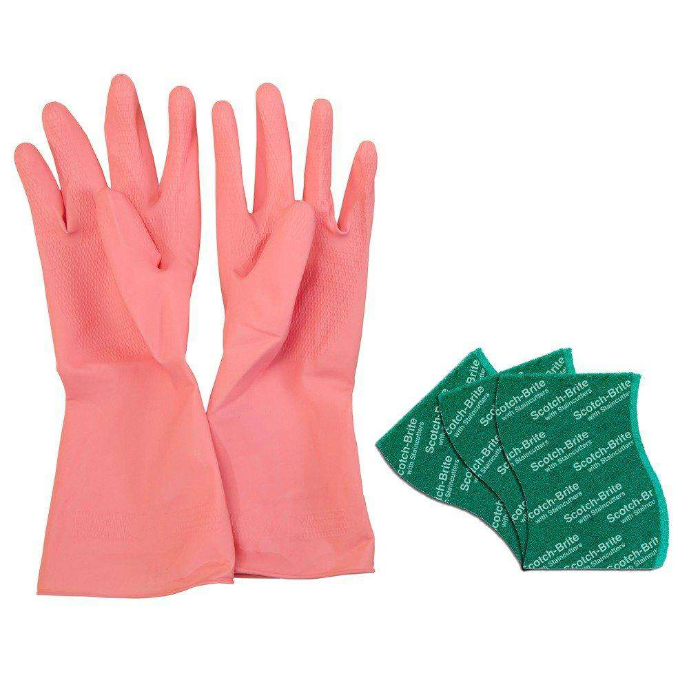 Scotch-Brite Kitchen Gloves Medium Pair (Pack of 1) and Scrub Pad Large (Pack of 3)