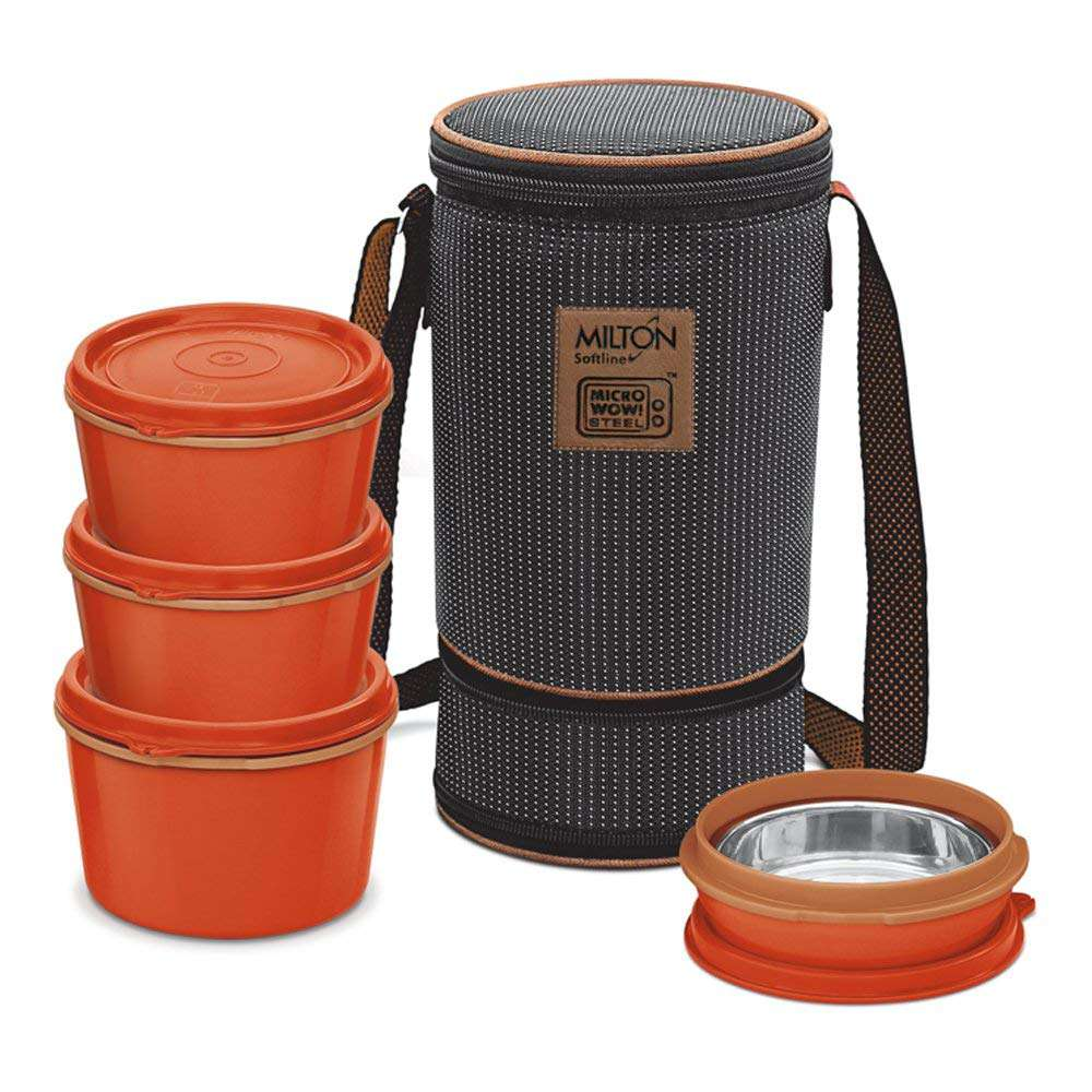 Milton Flexi Insulated Inner Stainless Steel Lunch Box Set | 4 Containers of 1x 200, 2 x 350, 1 x 500 ml