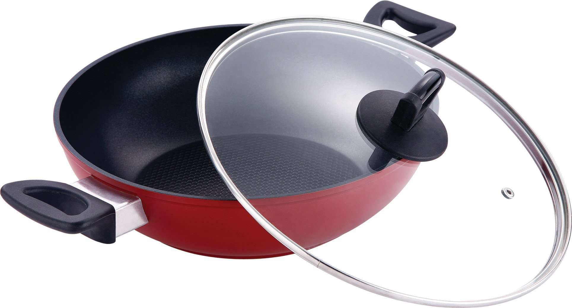Bergner Scarlett Aluminium Wok with Glass Lid, 24 cm Induction Base