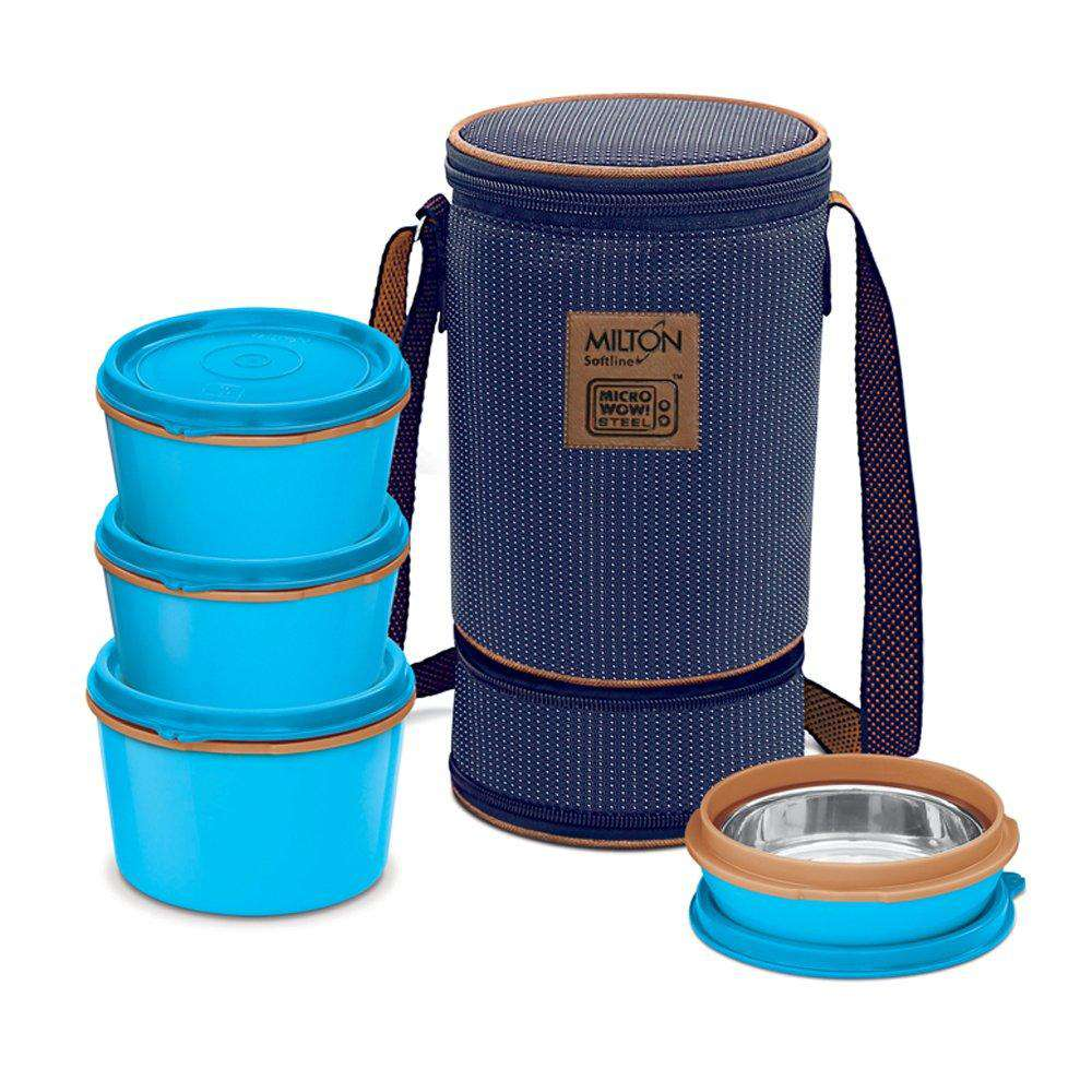 Milton Flexi Insulated Stainless Steel Lunch Box Set | 4 Containers  of 1x 200, 2 x 350, 1 x 500 ml