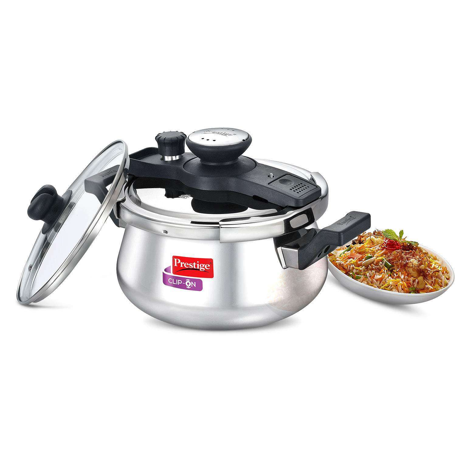 Prestige Clip On Stainless Steel Handi Pressure Cooker with Glass Lid, 5 Litres